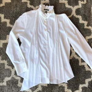 Quick Look White Button Down with Neck Scarf